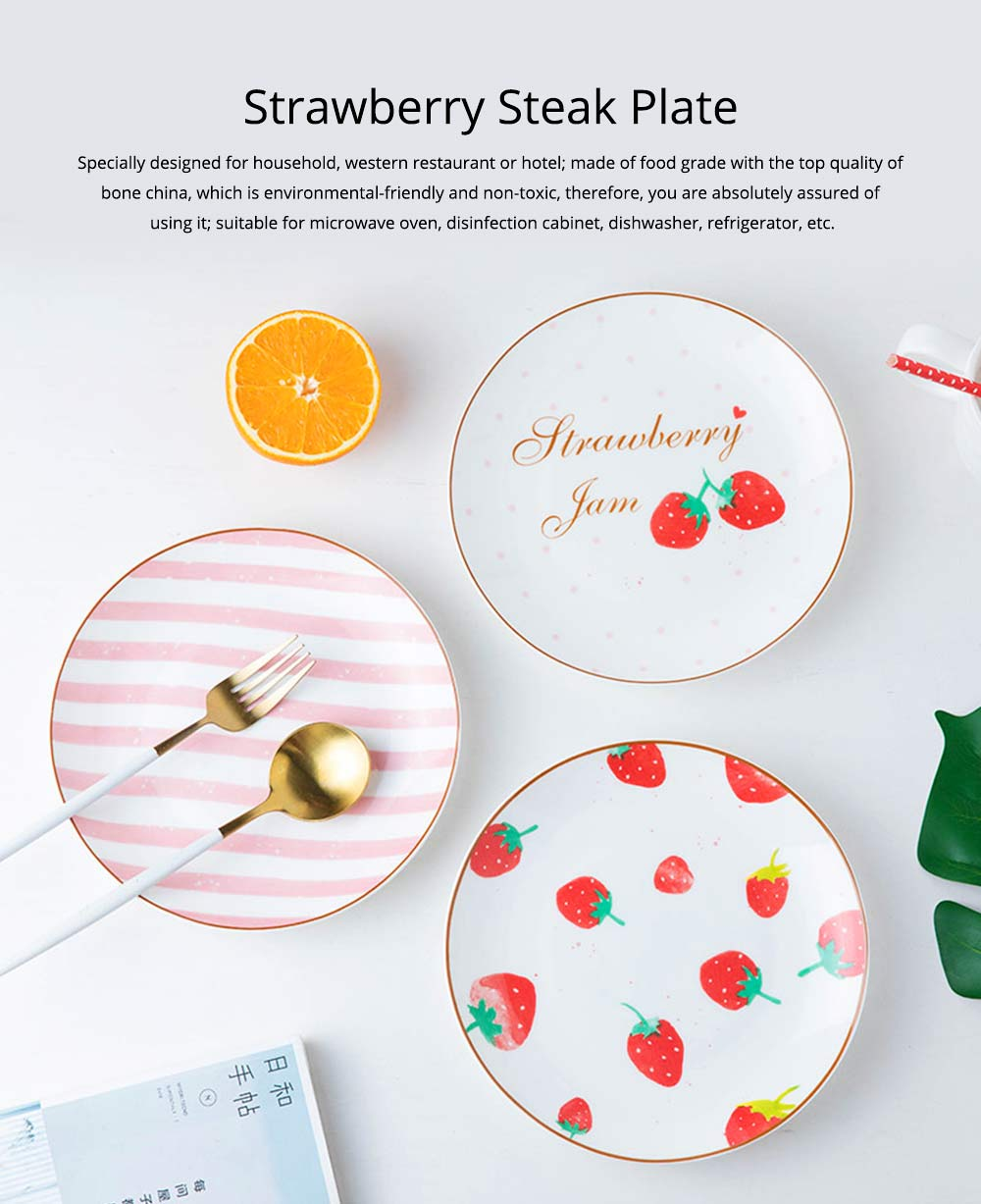 Bone China Dinner Plate Strawberry Pattern, Household Cute Plate Tableware Set 9