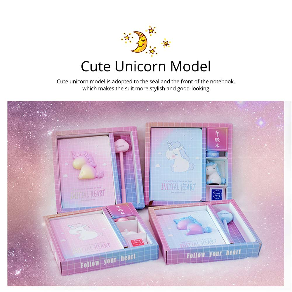 Notebook Pen Sticker Set Birthday Present, Fantasy Starry Sky Unicorn Hand Account Book Suit 3