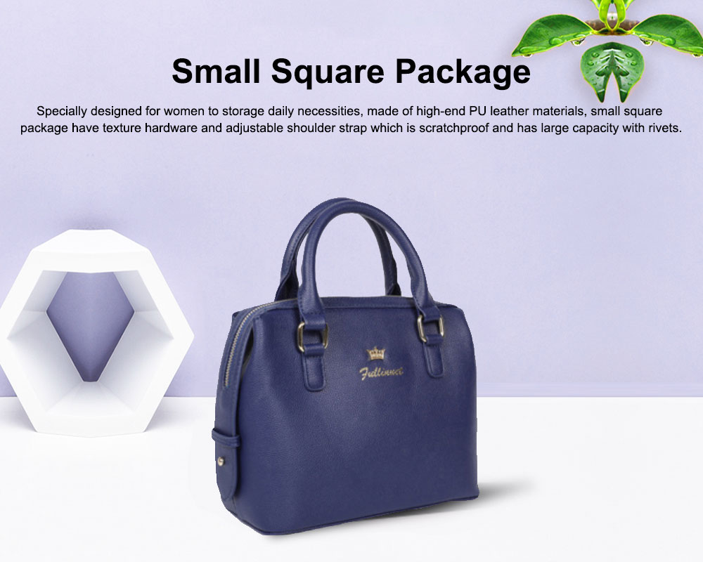 Small Square Package With Smooth Metal Zipper, Female Shoulder Bag with Adjustable Hand Strap 0