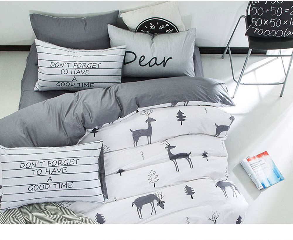 Simple Bedding Set 4 Pieces, Activated Dyeing & Printing 100% Organic Cotton Bedding Set 10