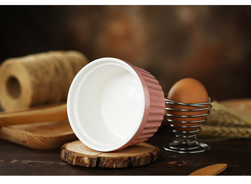 Round Porcelain Baking Dishes, Ceramic Dessert Bowls Baking Cups for Creme Brulee,  Dipping Sauces 8