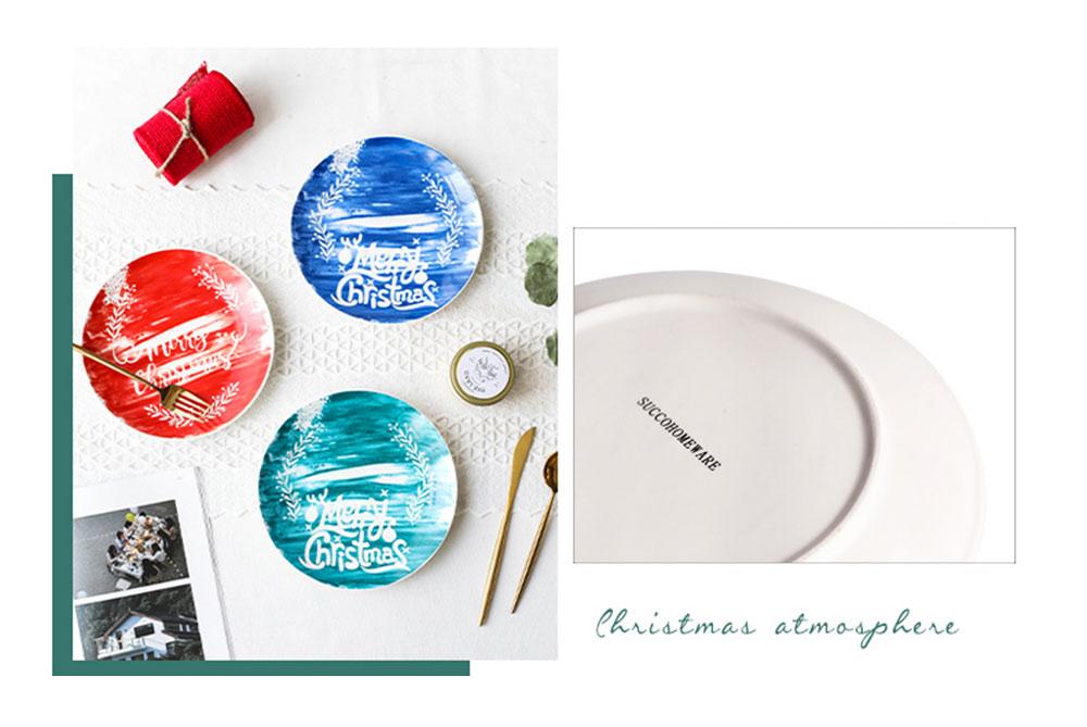 Christmas Painted Ceramic Plates, Christmas Style Steak Dinner Plates 4