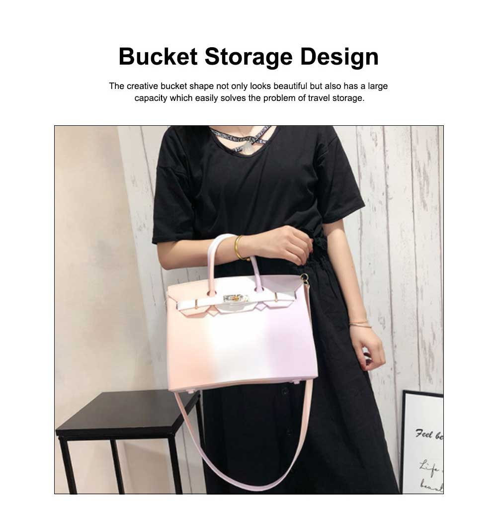 Colorful Contrast Women's Fashion Jelly Bag Rainbow Colored Matte PVC Beach Handbag Tote Bag 5