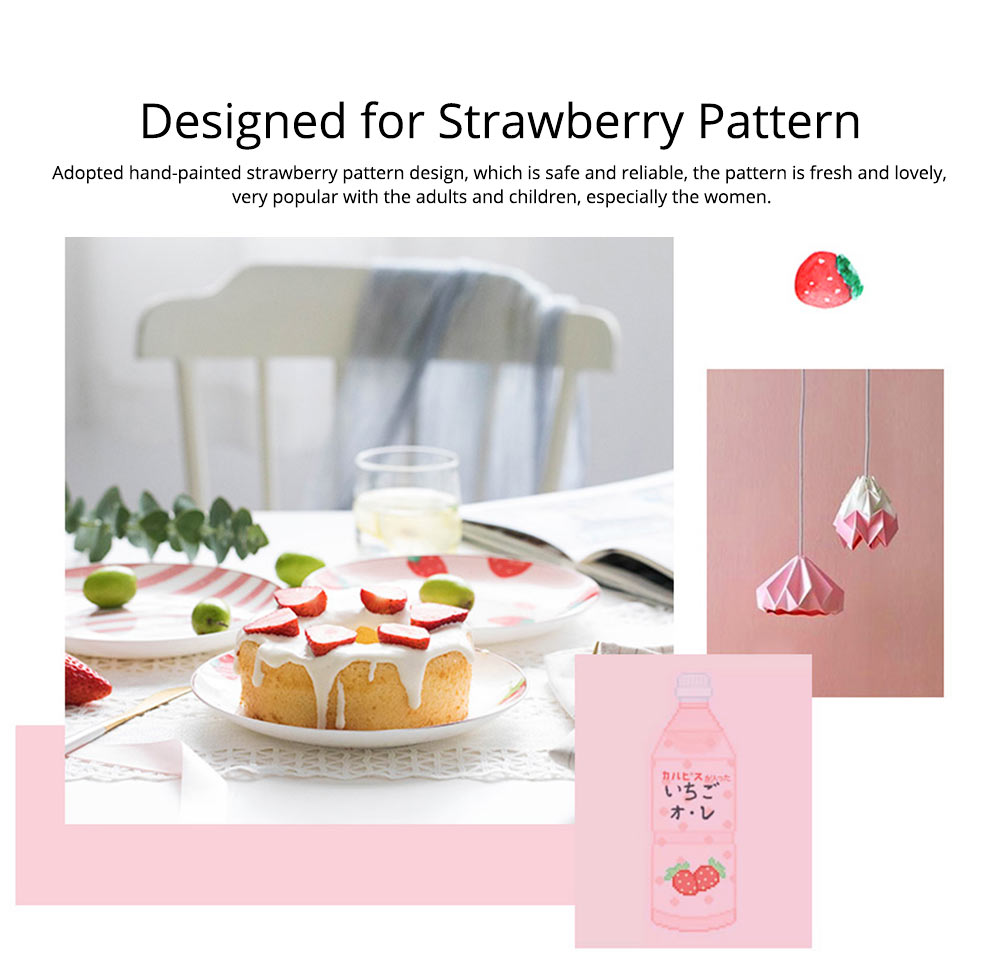 Bone China Dinner Plate Strawberry Pattern, Household Cute Plate Tableware Set 11