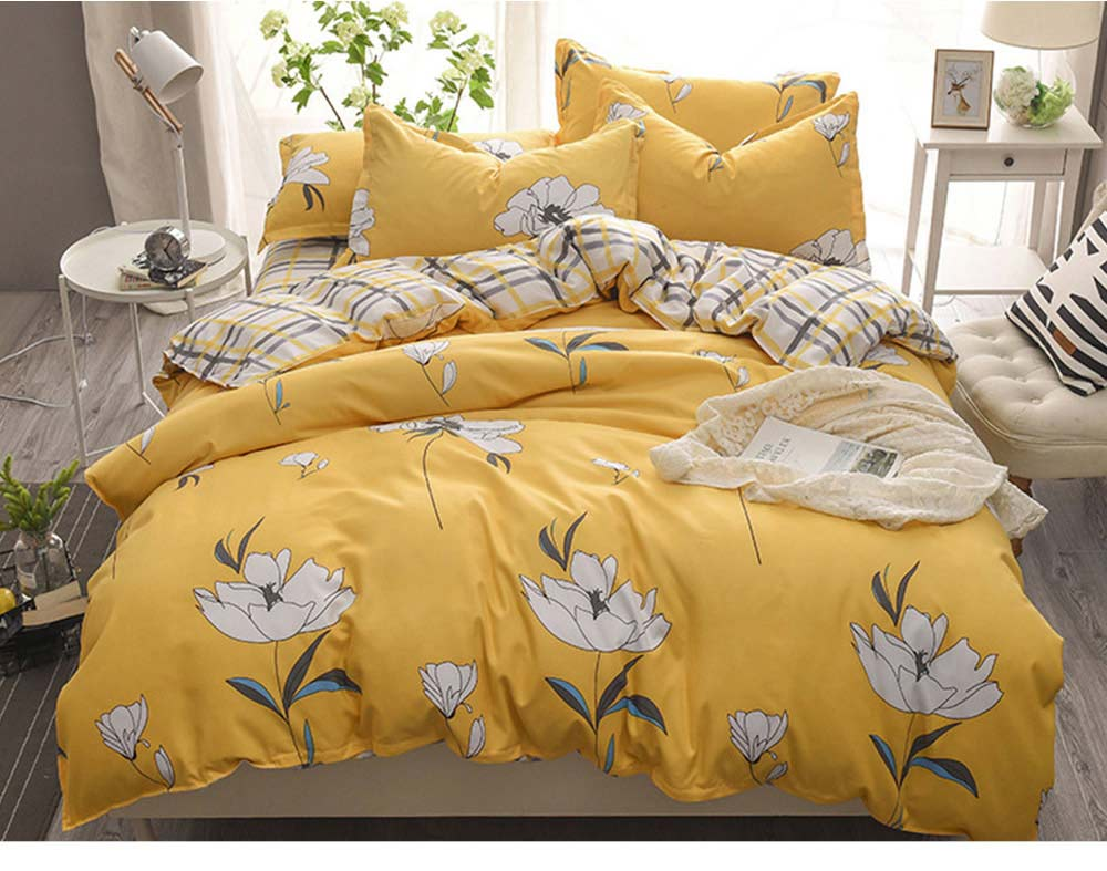 Simple Style Quilt Cover Sheet Pillowcase Bedding Set 4 Pieces 7