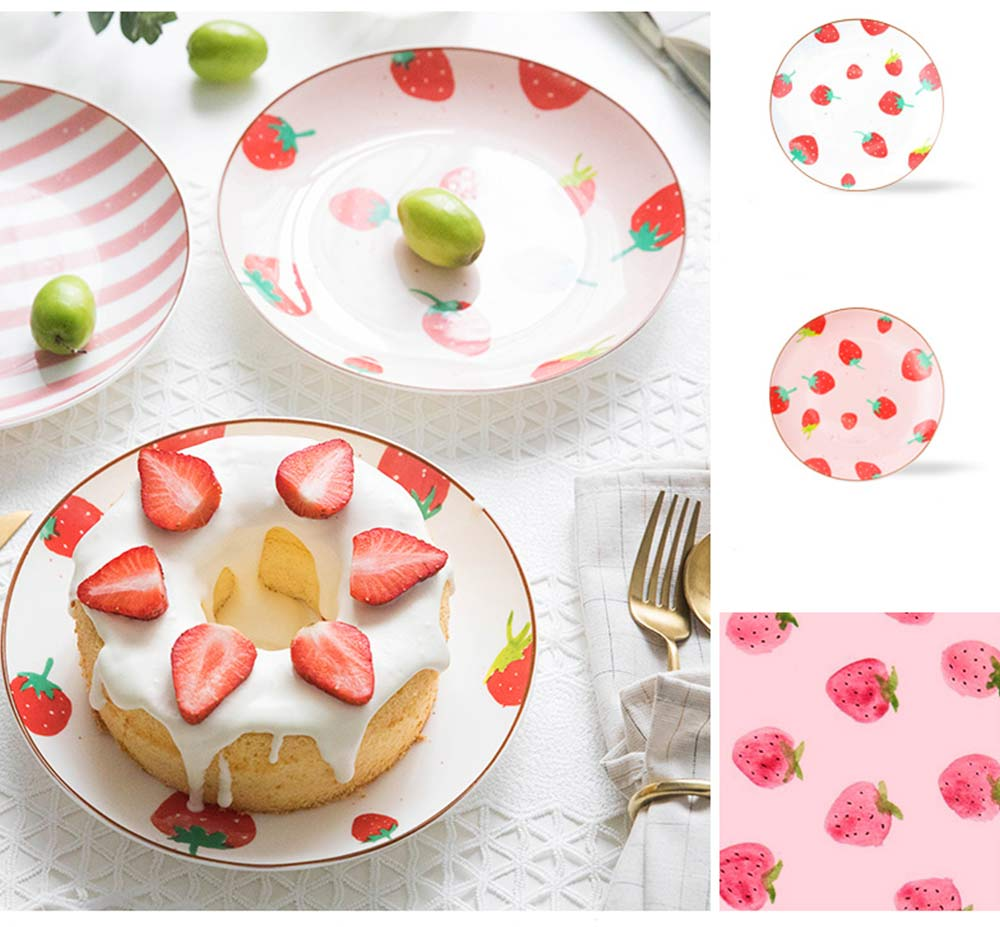 Bone China Dinner Plate Strawberry Pattern, Household Cute Plate Tableware Set 12