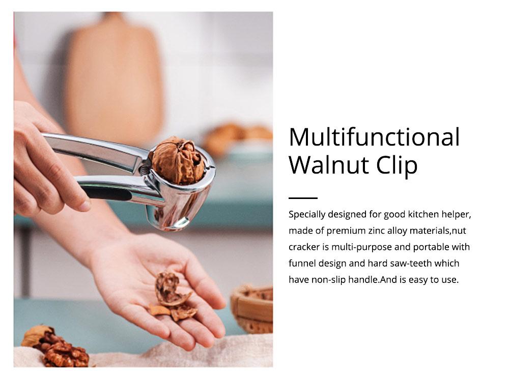 Splash Proof Nut Cracker for Various Nuts, Multifunctional Walnut Clip with V-shape Funnel Design 1