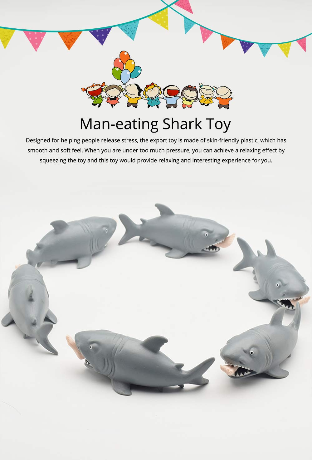Tricky Soft Man-eating Shark Shape Squeeze Toys,  Interesting Adults Decompression Export Pinch Toys 0