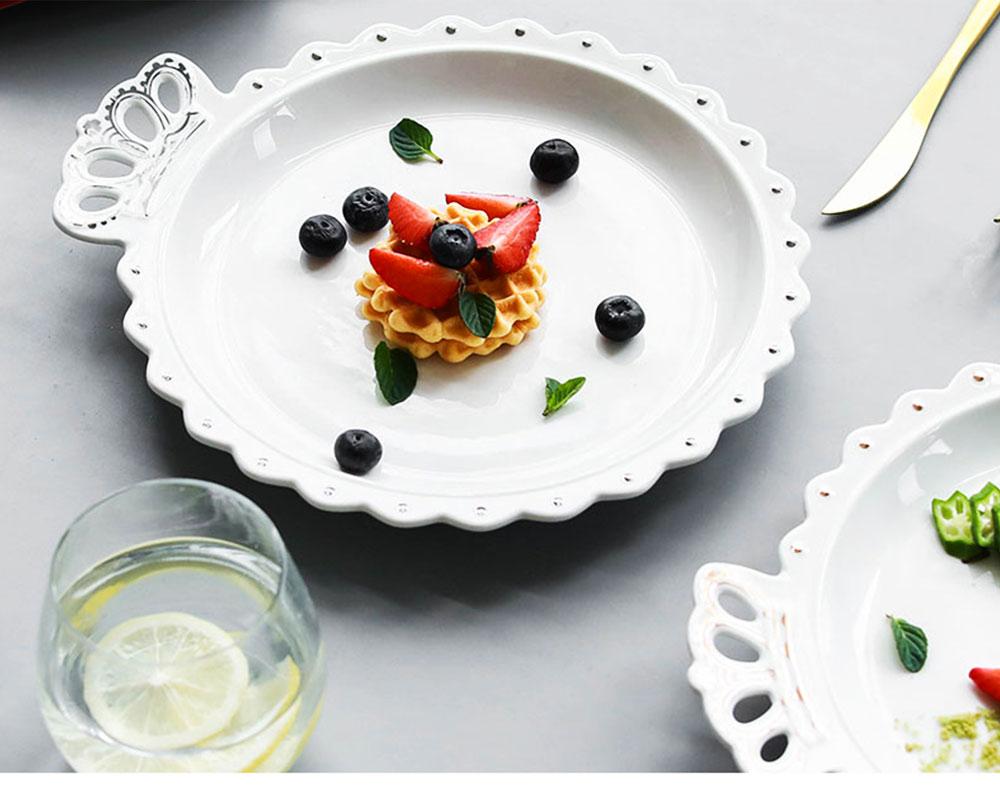 Crown Dinner Plates 10 inches, Porcelain Ceramic Breakfast Tray Steak Plate 17