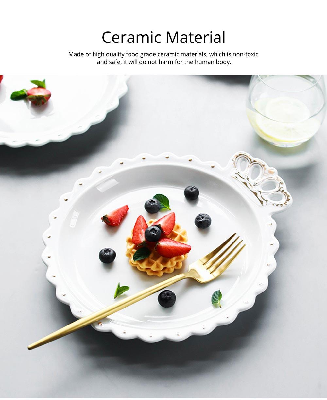 Crown Dinner Plates 10 inches, Porcelain Ceramic Breakfast Tray Steak Plate 12