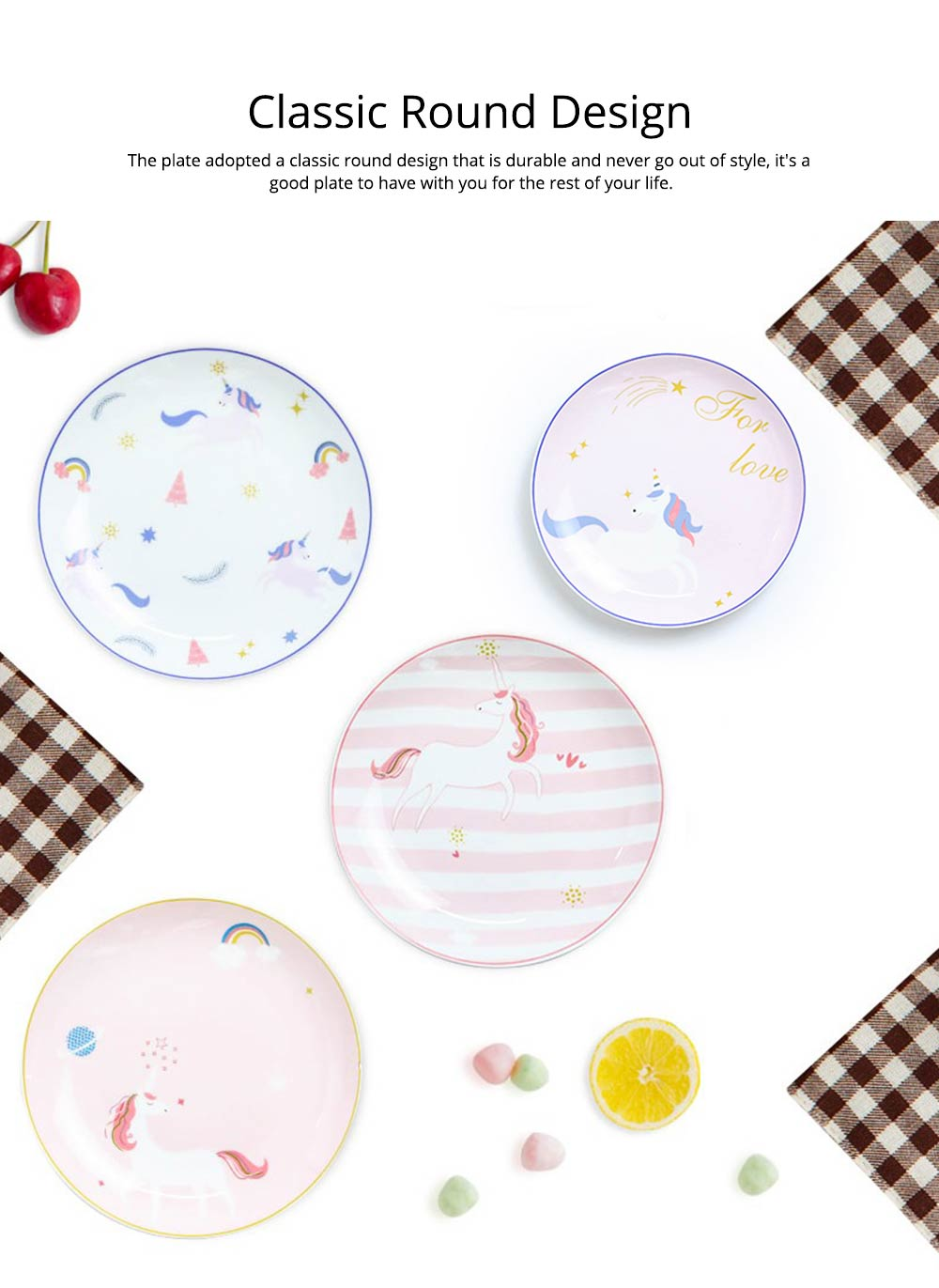 Unicorn Dinner Plates, Bone China Rainbow Steak Plate  2