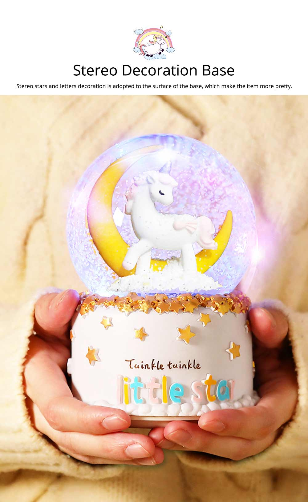 Elegant Snow Globe Ball Music Box With Unicorn Decoration for Children Girls As New Year Birthday Present 7