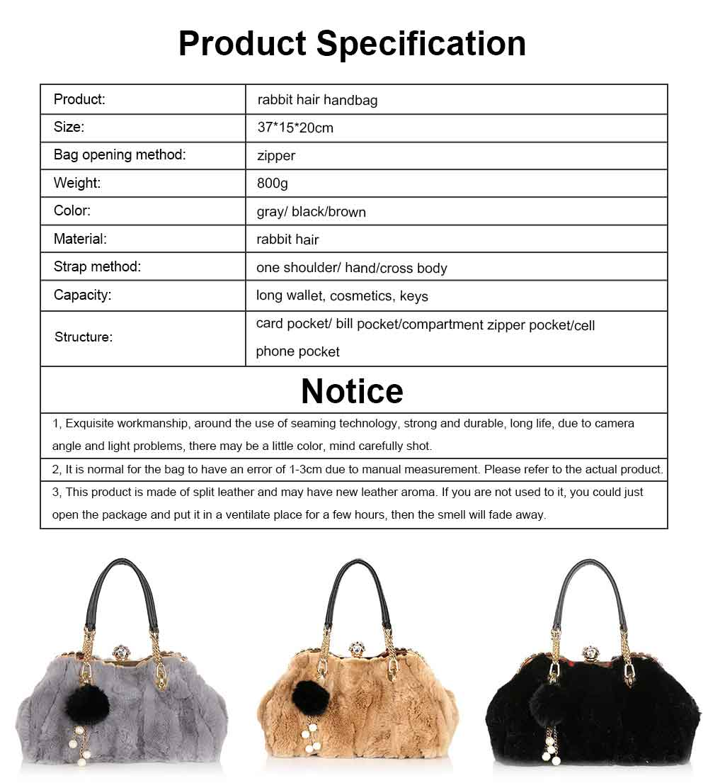Women's Wild Rabbit Hair Handbag With Flat Hand Strap, Fashion Simple Shoulder Tote for Ladies 16