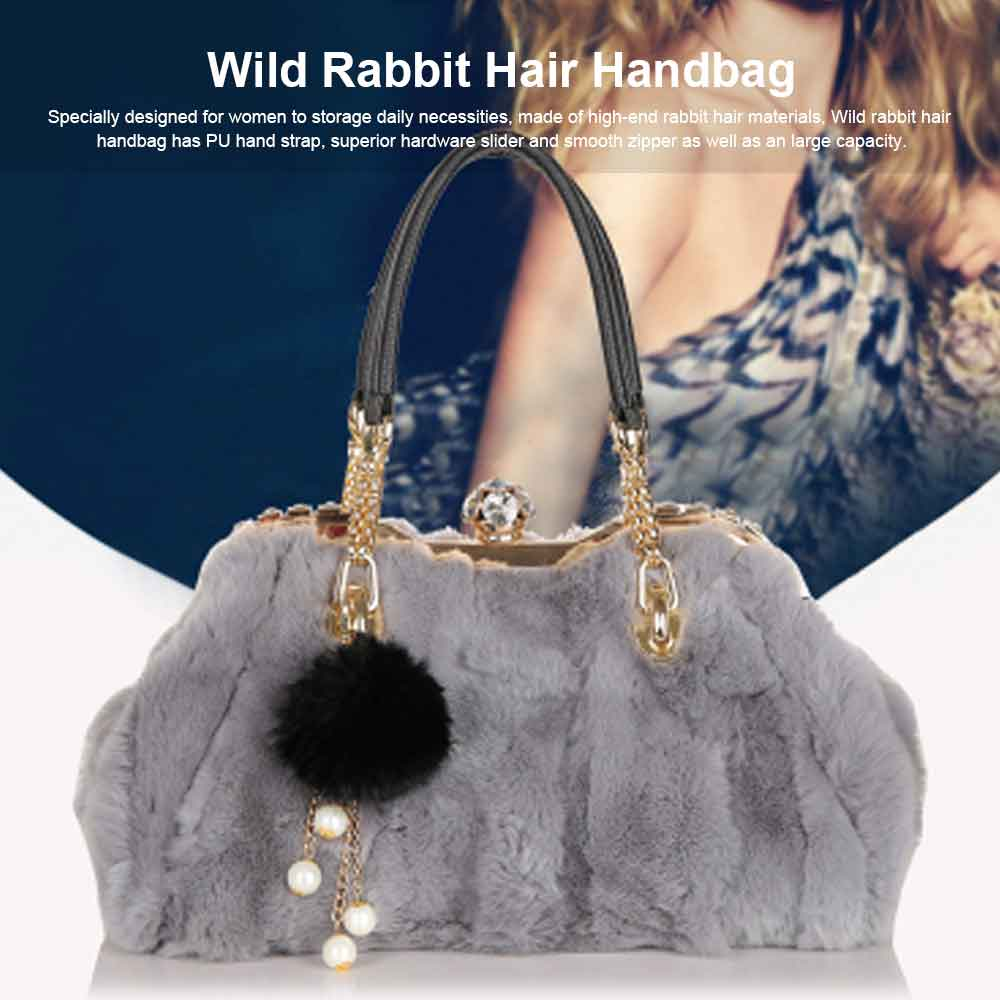 Women's Wild Rabbit Hair Handbag With Flat Hand Strap, Fashion Simple Shoulder Tote for Ladies 0