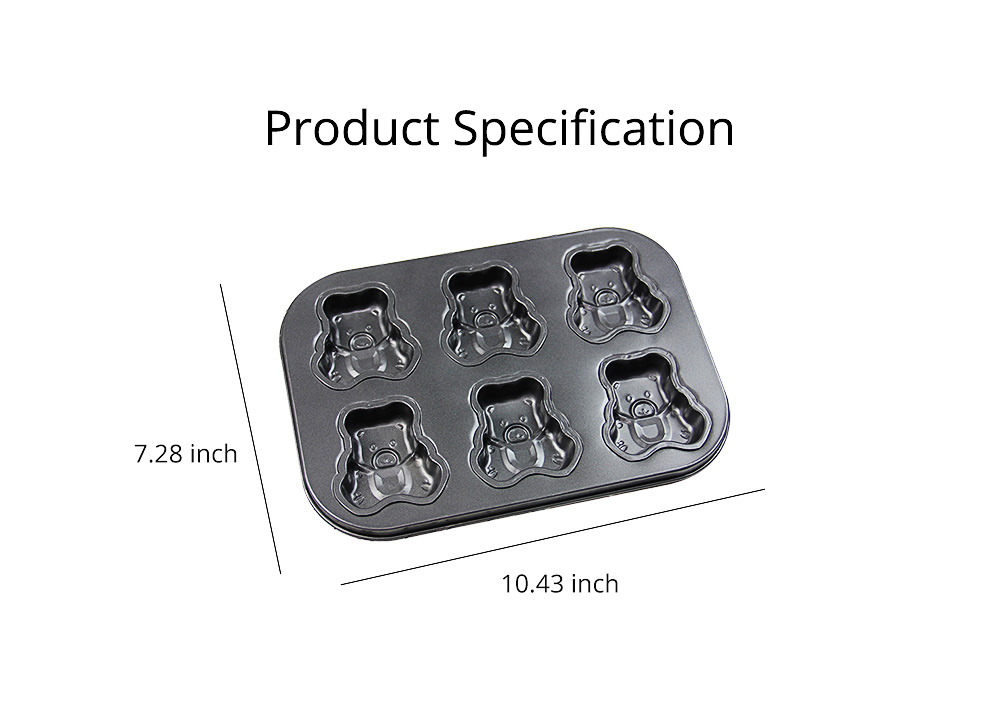 6 Cups Muffin Pan Bread Molds Cake Bakeware, Seashell Bear Shape DIY Chocolate Baking Mould 7
