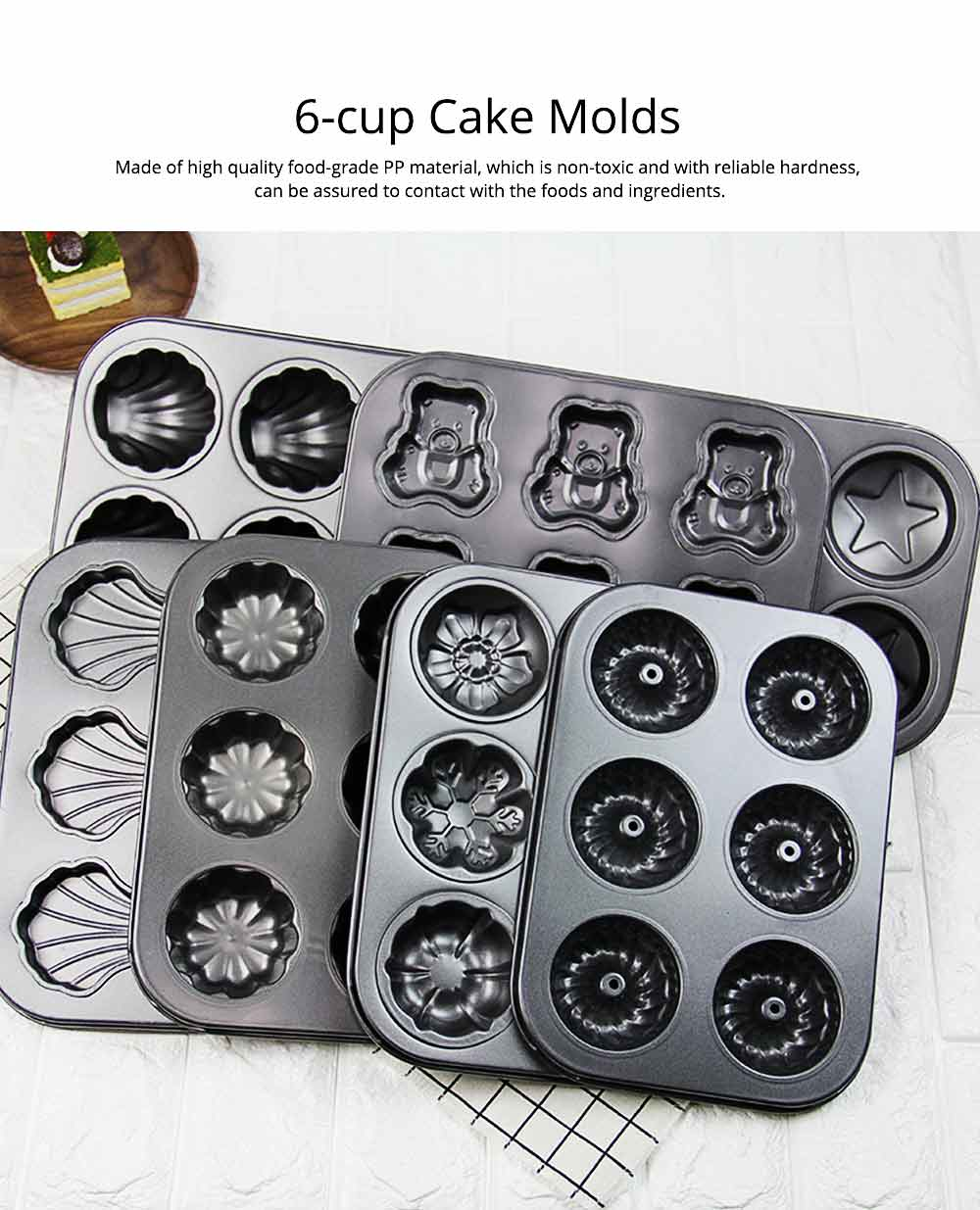 6 Cups Muffin Pan Bread Molds Cake Bakeware, Seashell Bear Shape DIY Chocolate Baking Mould 1