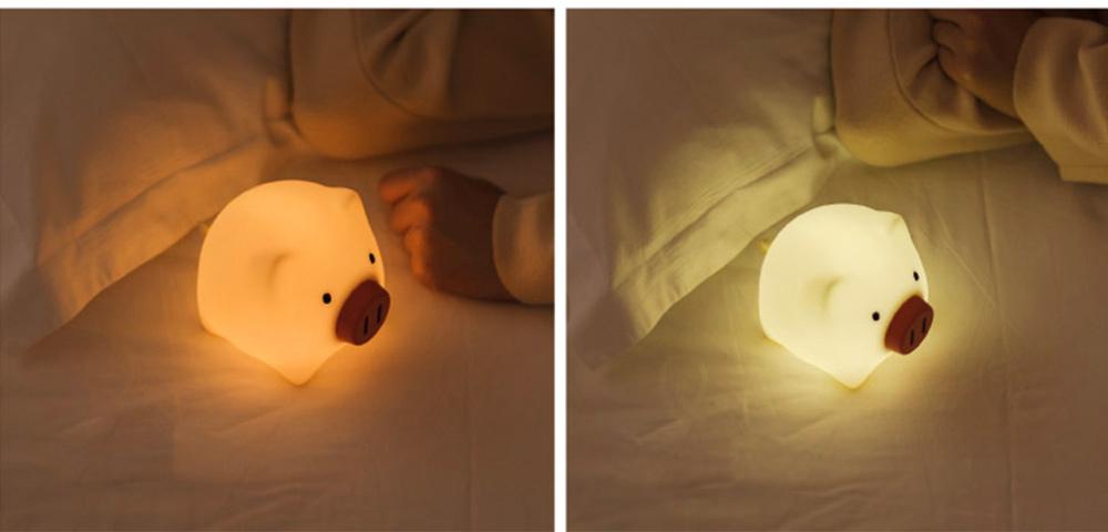 Pig Night Light, Ultrasoft Skin-friendly Silicone Piggy Light Present For Girls or Child 4