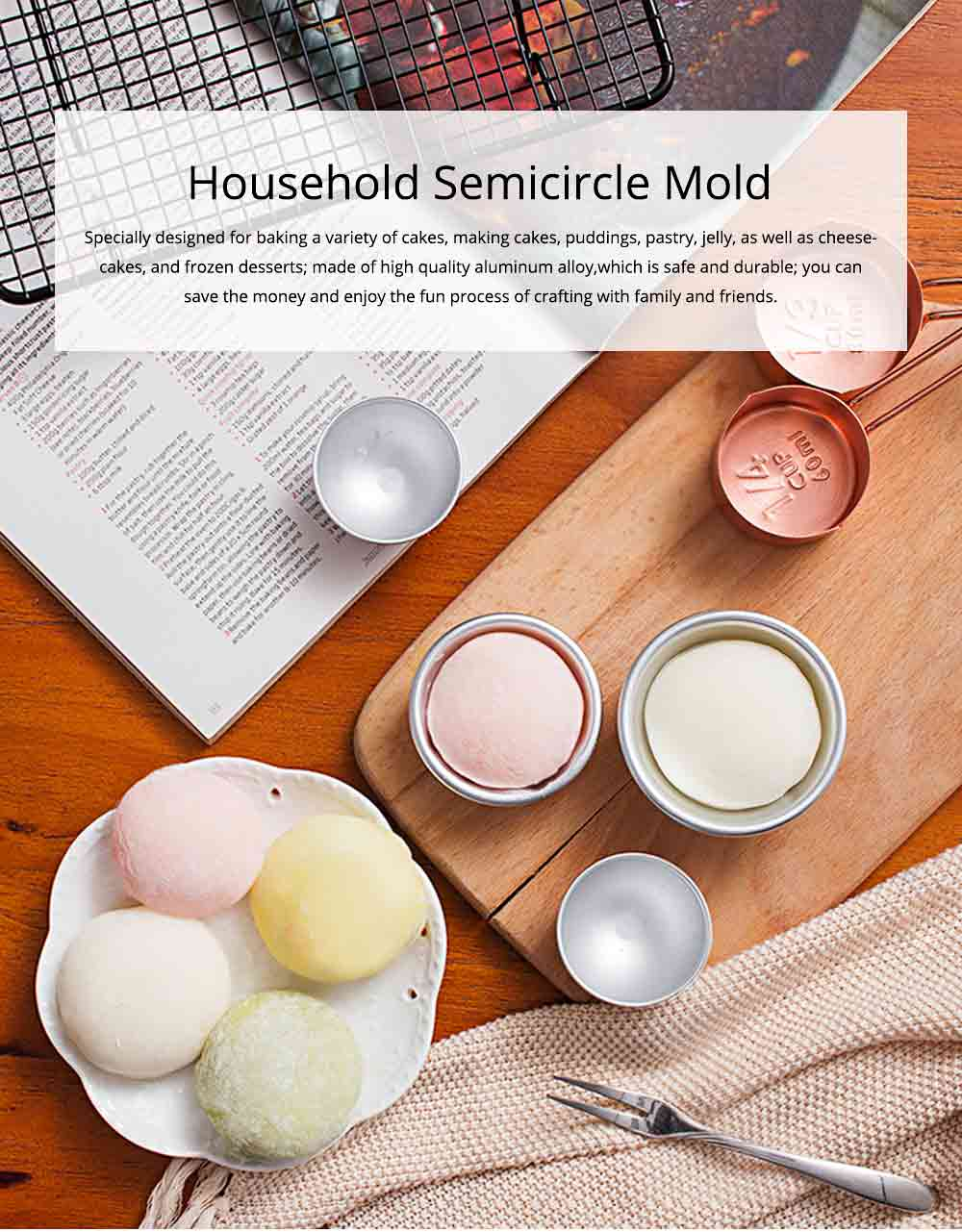 Semi Circle Pastry Mold, Aluminum Alloy DIY Bath Salt Bomb Molds 0