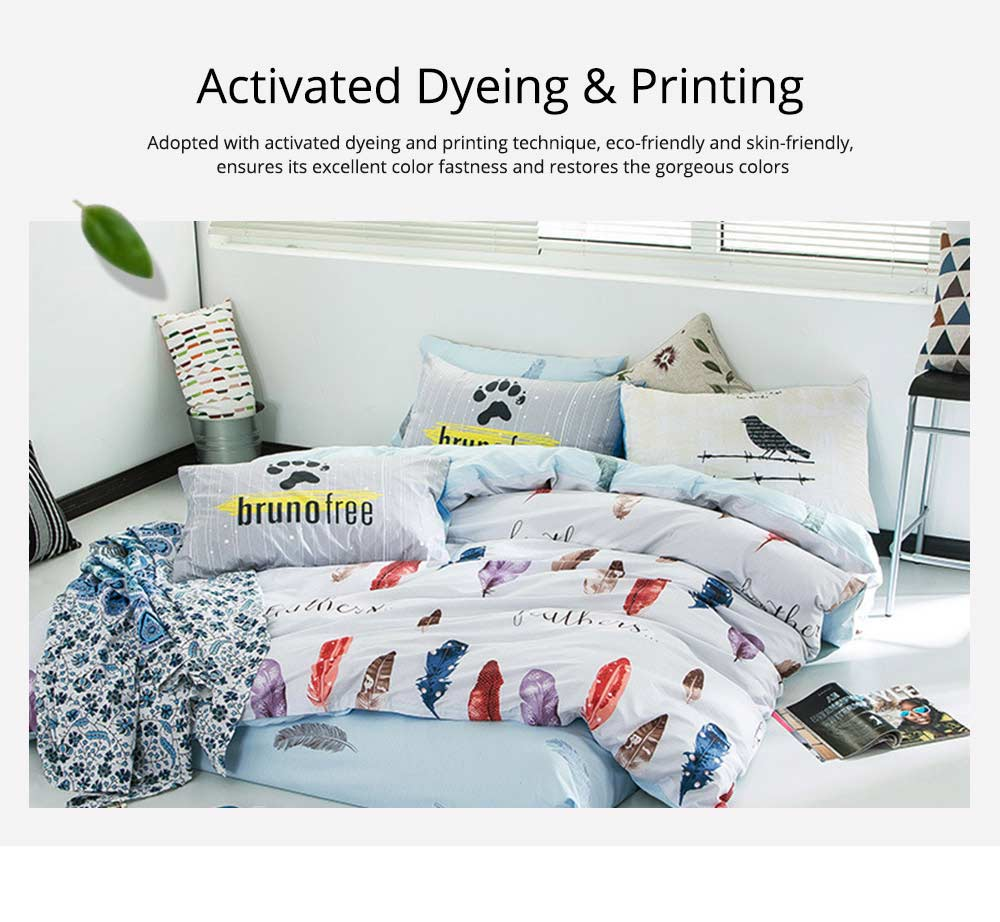Simple Bedding Set 4 Pieces, Activated Dyeing & Printing 100% Organic Cotton Bedding Set 2