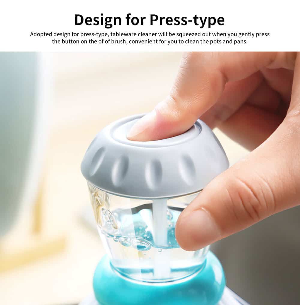 Pot Pan Dish Brush, Press-type Cleaner Kitchen Brush Dish Wash Scrubber 3