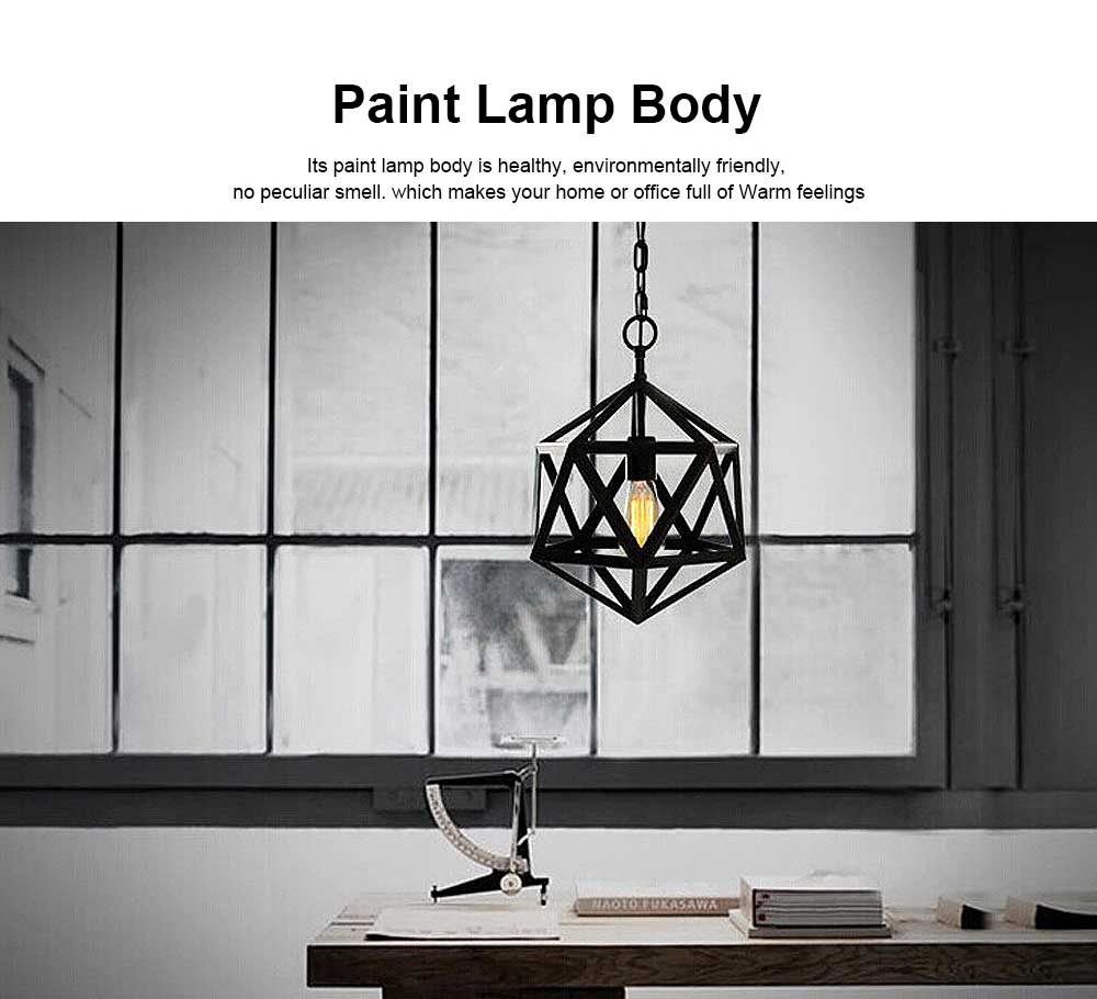 Wrought Iron Chandelier Lighting, American Country Multi-hexahedron Lamp 1