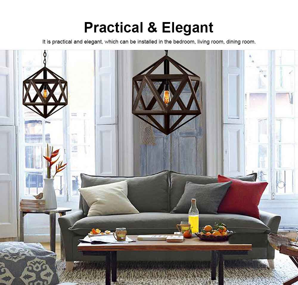 Wrought Iron Chandelier Lighting, American Country Multi-hexahedron Lamp 3