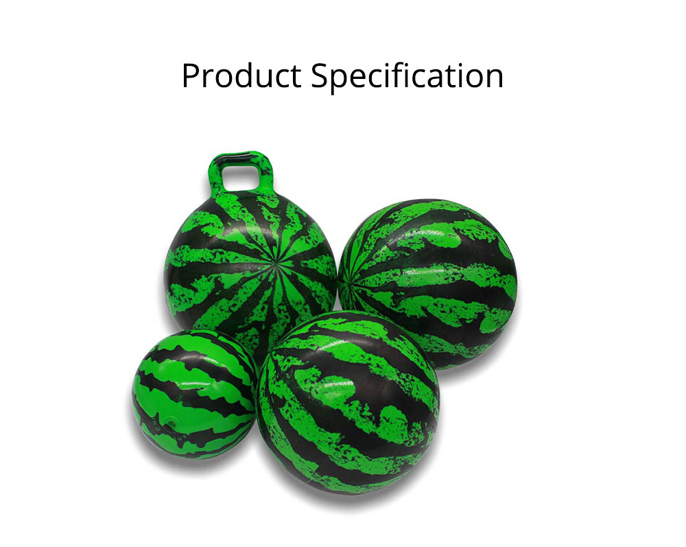 Watermelon Rubber Bounce Ball, Inflatable Elastic Punch Parent-child Interaction Ball with Handle 14