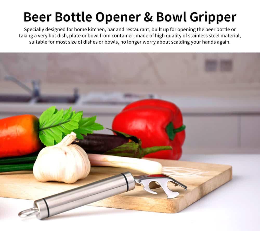Beer Bottle Opener Dishes Gripper Clip, Multiple Function Anti-hot Bowl Holder Clamp Gadgets 0