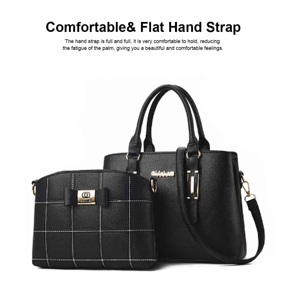 Fashion PU Leather Women's Shoulder Bag With Metal Reinforced Hand 2 Sets bags 4
