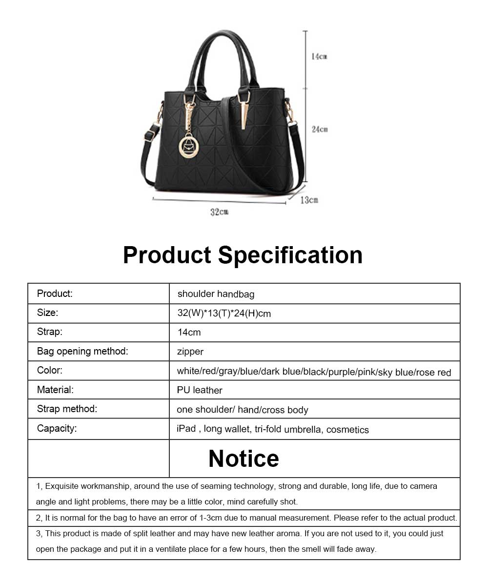 Rhombus Fabric Women's Shoulder Bag with Texture Hardware and One-shoulder Buckle and Large Capacity 9