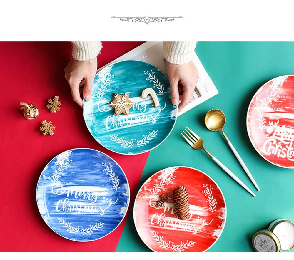 Christmas Painted Ceramic Plates, Christmas Style Steak Dinner Plates 7