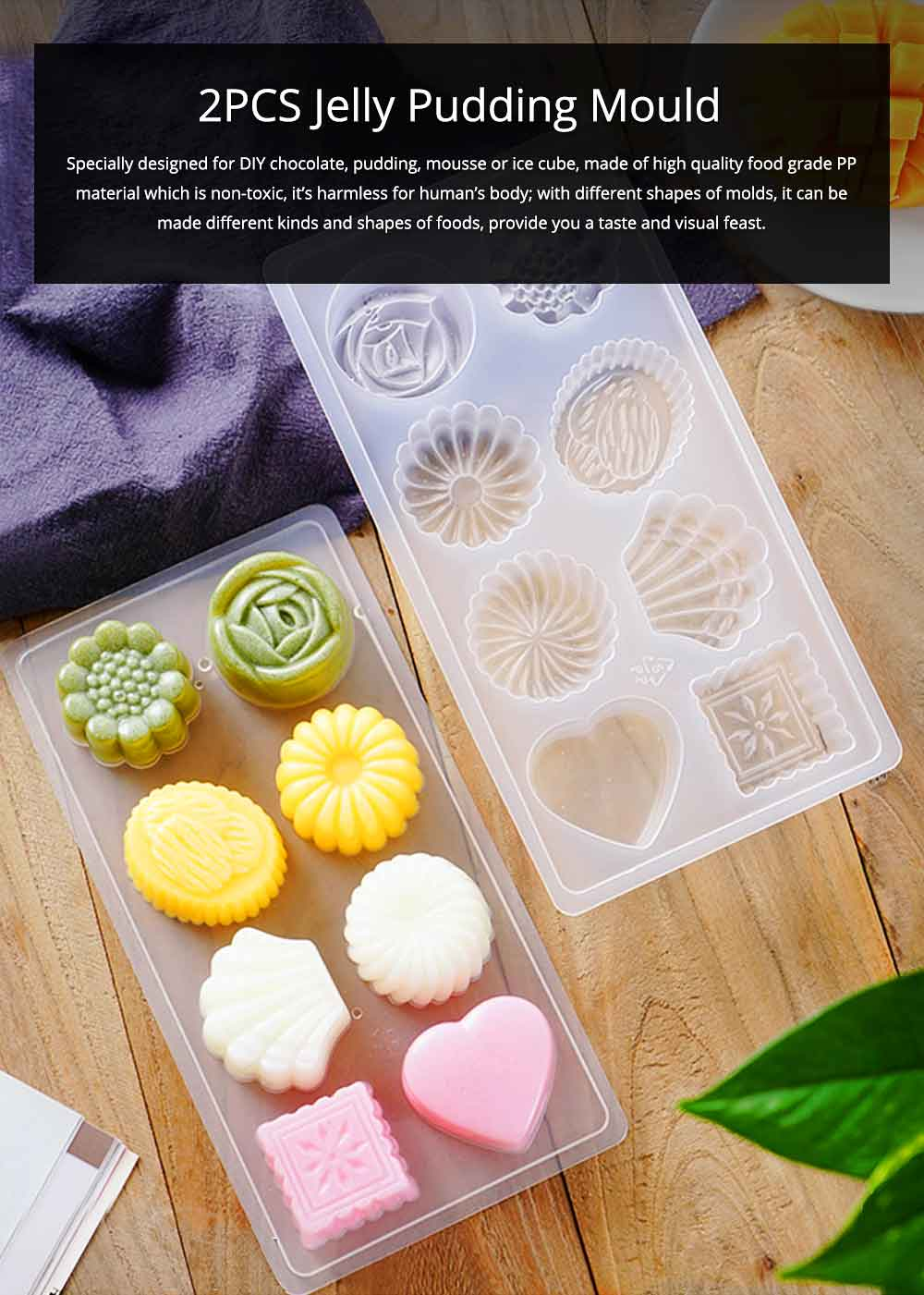 2PCS Jelly Pudding Mould, DIY Baking Chocolate Pudding Ice Cube Making Mold, 8 Cube 0