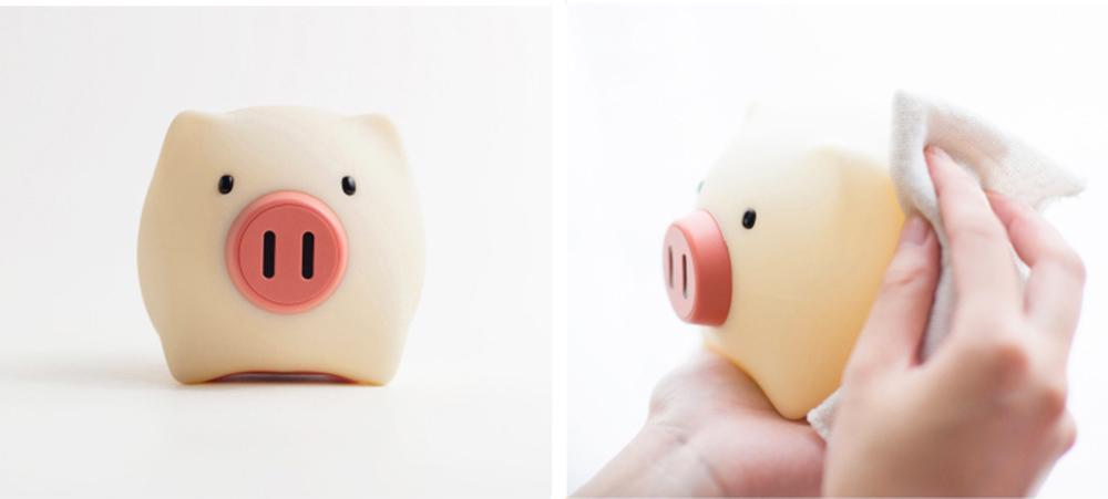 Pig Night Light, Ultrasoft Skin-friendly Silicone Piggy Light Present For Girls or Child 2
