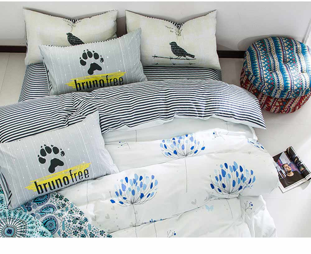 Simple Bedding Set 4 Pieces, Activated Dyeing & Printing 100% Organic Cotton Bedding Set 8