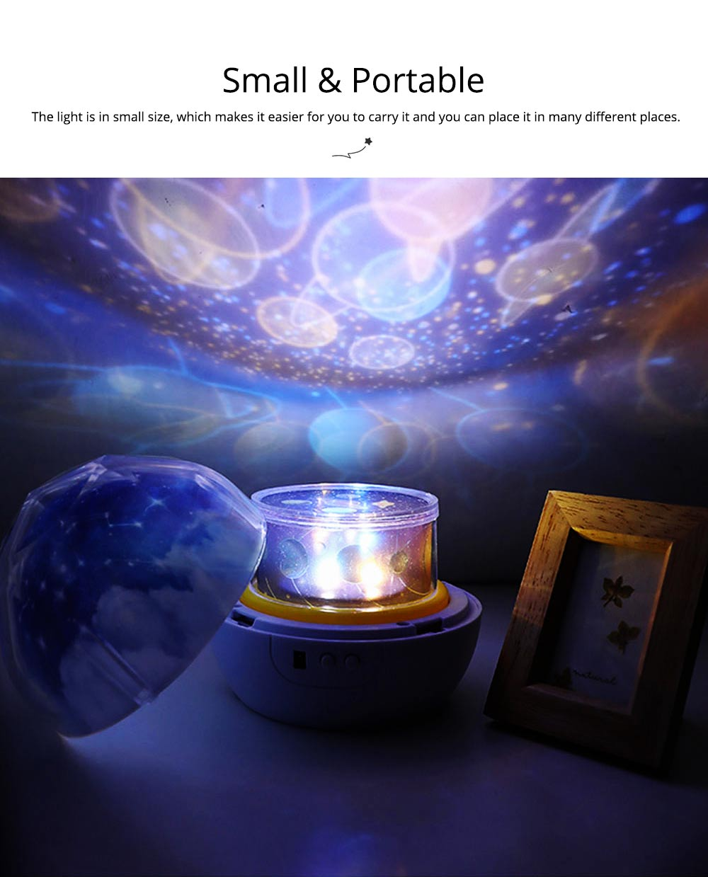 Pretty Starry Sky Ocean Projecting Night Light, Rotation Light Birthday New Year Gift 6