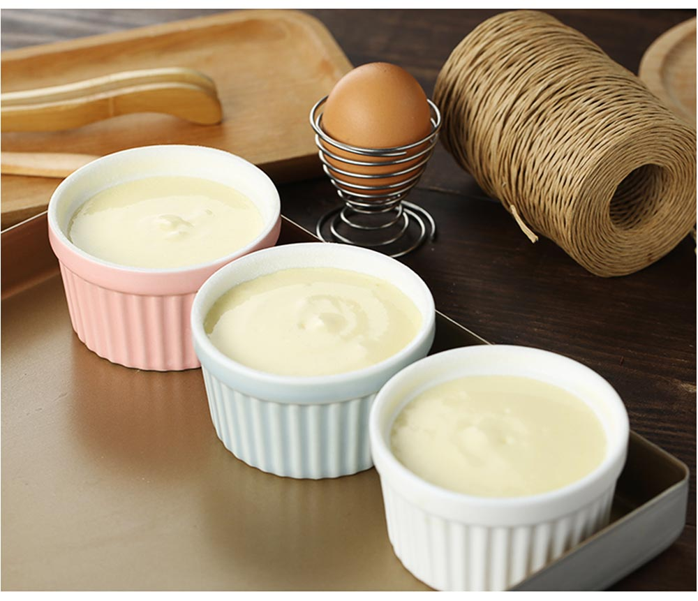Round Porcelain Baking Dishes, Ceramic Dessert Bowls Baking Cups for Creme Brulee,  Dipping Sauces 5