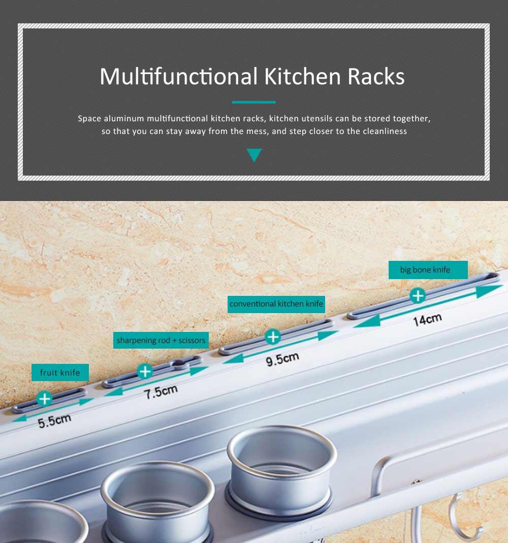 Aluminum Kitchen Rack, Widened Thickened Kitchen Knife Rack Seasoning Storage Hardware Wall Pendant 2