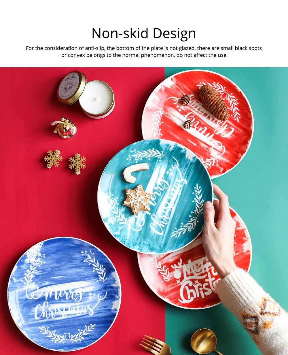 Christmas Painted Ceramic Plates, Christmas Style Steak Dinner Plates 3