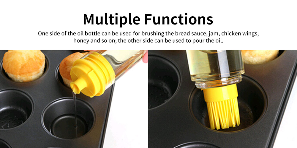 Cooking Oil Bottle With Basting Brush, Heat Resistant Anti-Leak Barbecue Tool 5