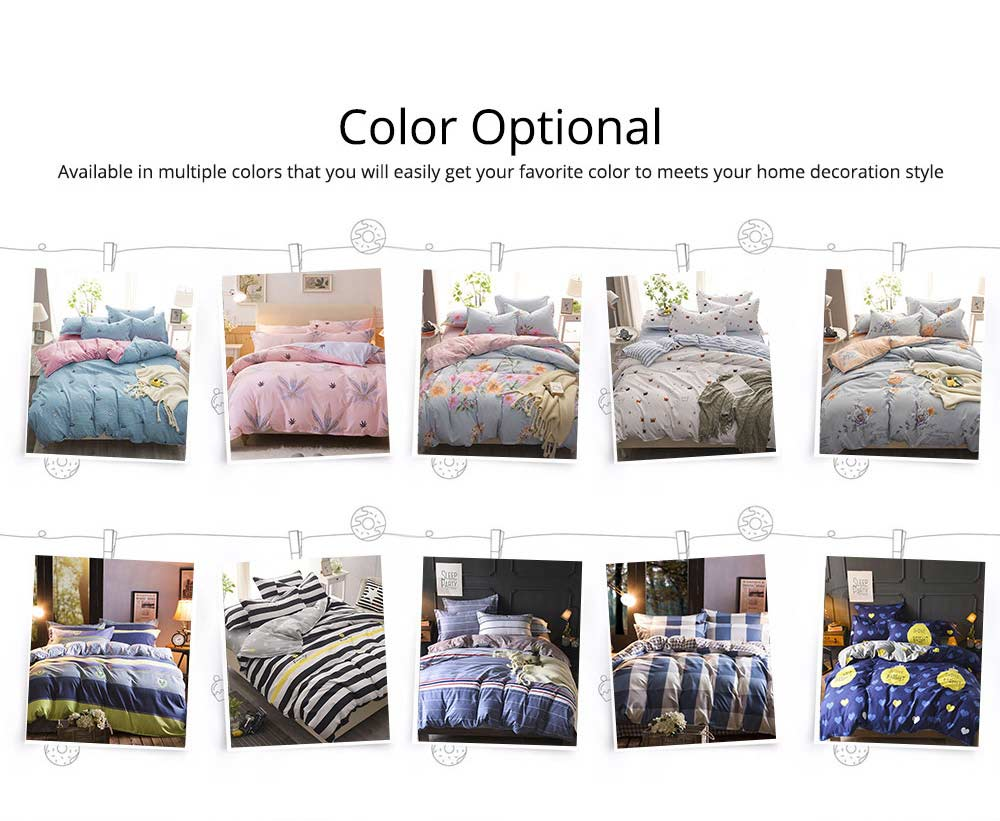 Simple Style Quilt Cover Sheet Pillowcase Bedding Set 4 Pieces 6
