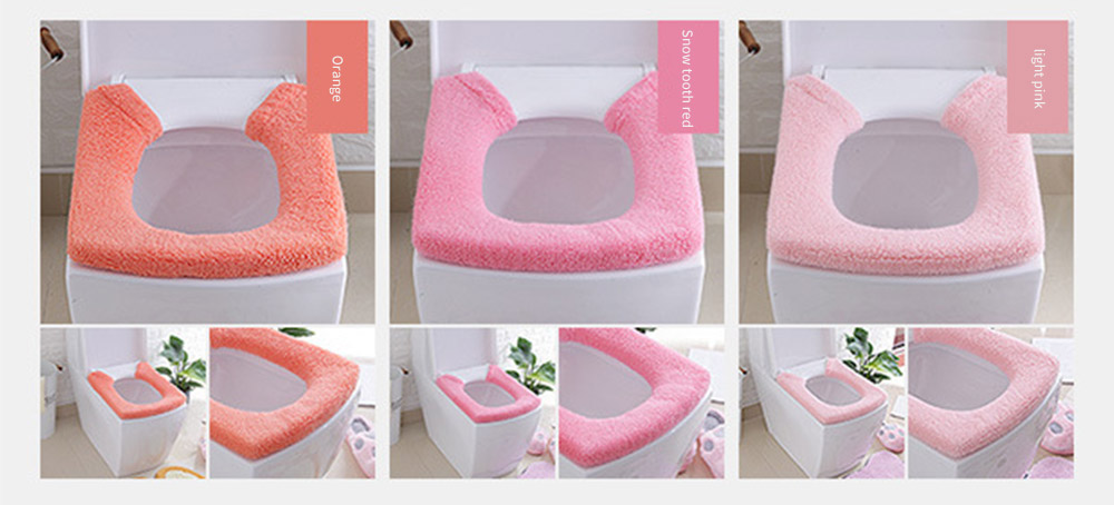 Warmer, Universal, Ultra-thick Toilet Stretchable Seat Cover with Pressed Fastener and Rings 14