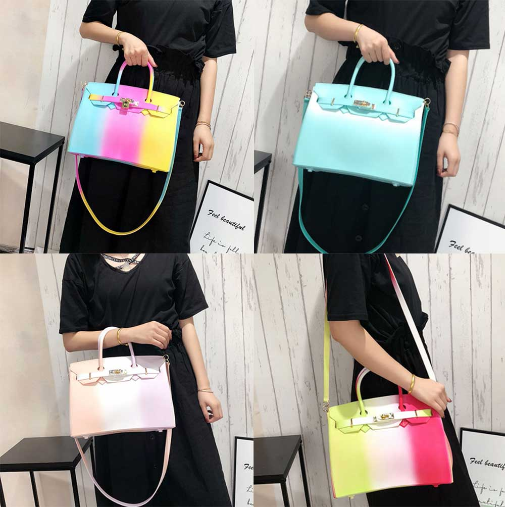 Colorful Contrast Women's Fashion Jelly Bag Rainbow Colored Matte PVC Beach Handbag Tote Bag 7