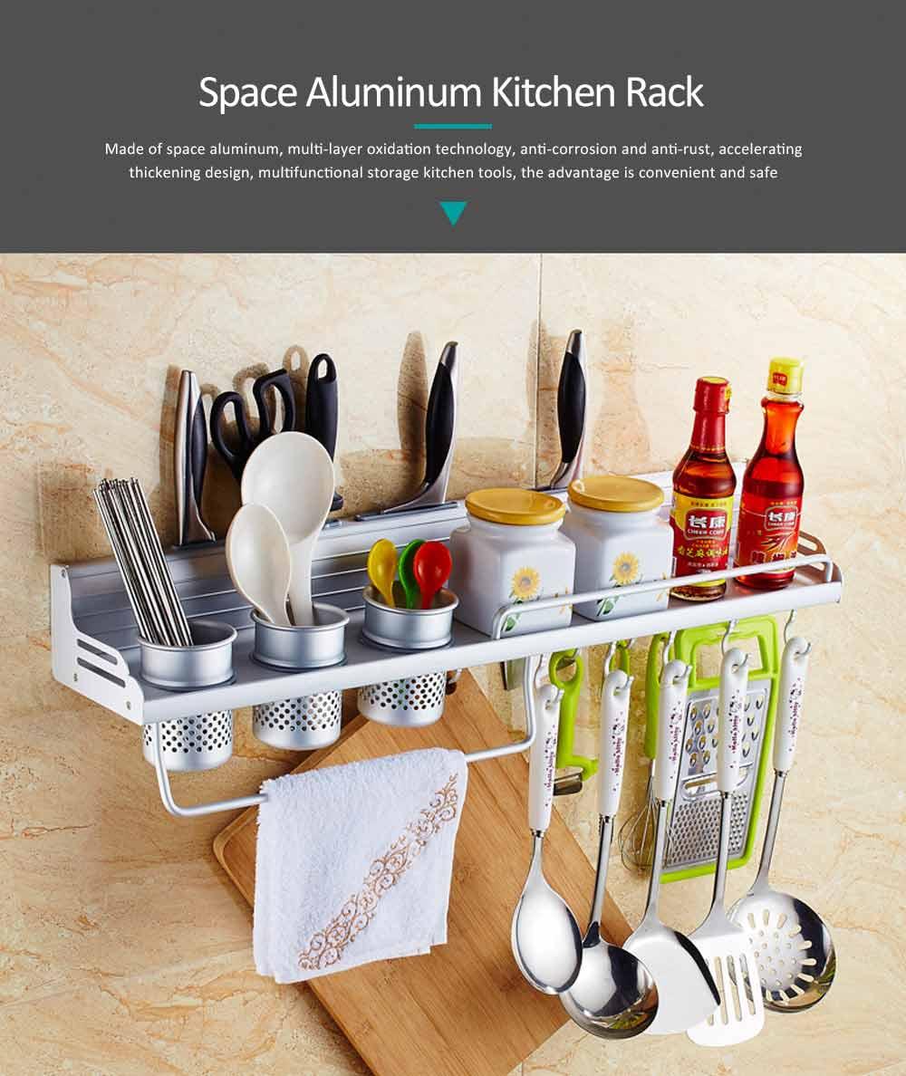 Aluminum Kitchen Rack, Widened Thickened Kitchen Knife Rack Seasoning Storage Hardware Wall Pendant 0