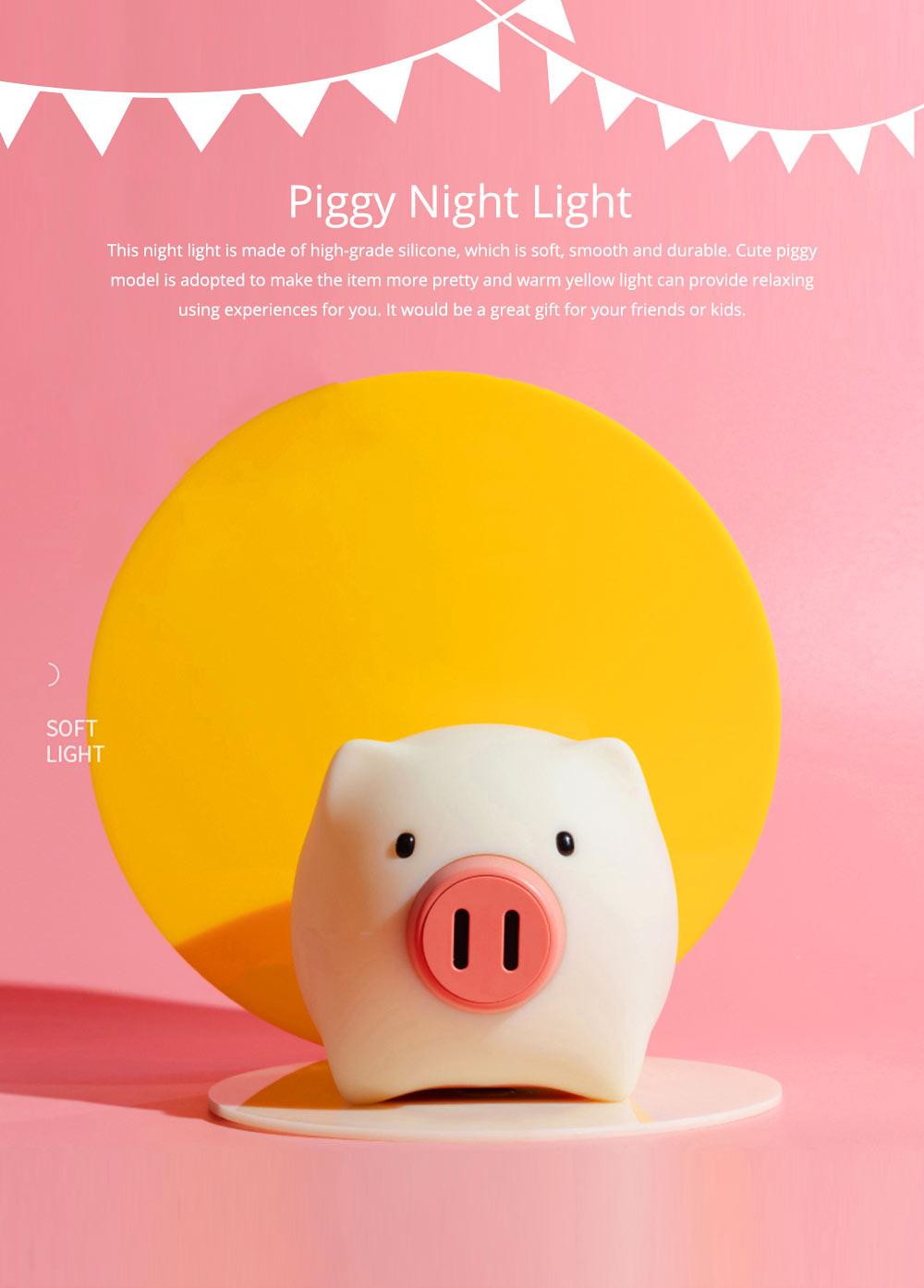 Pig Night Light, Ultrasoft Skin-friendly Silicone Piggy Light Present For Girls or Child 0
