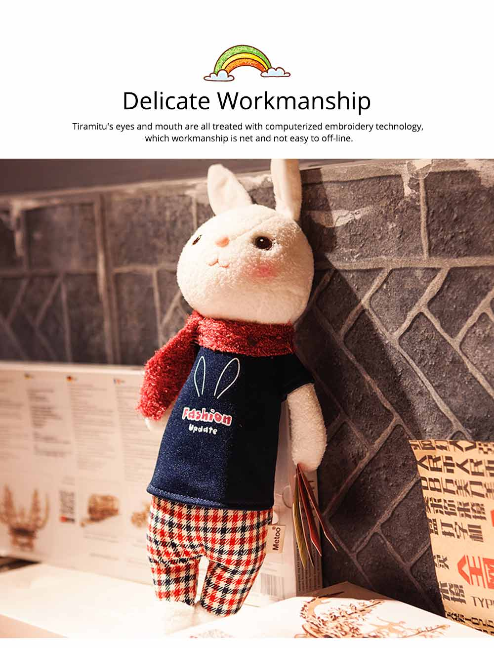 Cute Cartoon Tiramitu Rabbit Plush Stuffed Toy, Ultrasoft Smooth Children's Day Present Doll 3