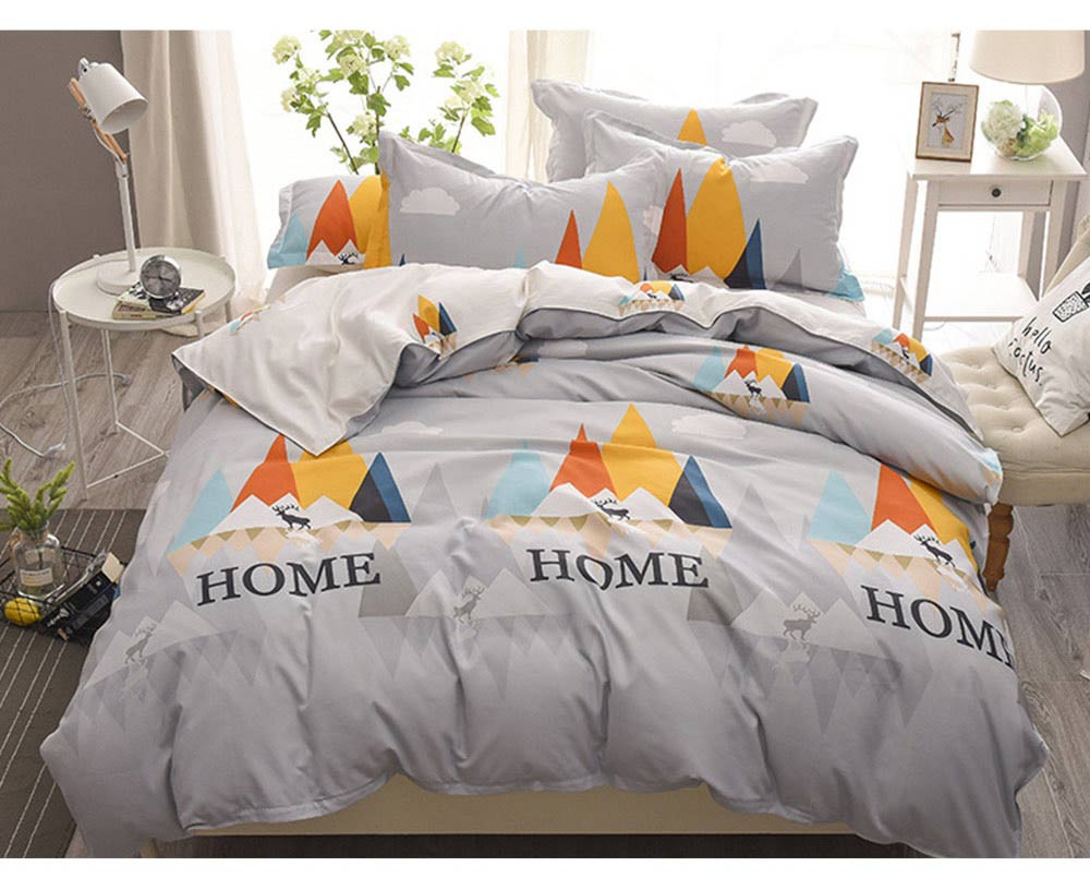 Simple Style Quilt Cover Sheet Pillowcase Bedding Set 4 Pieces 8