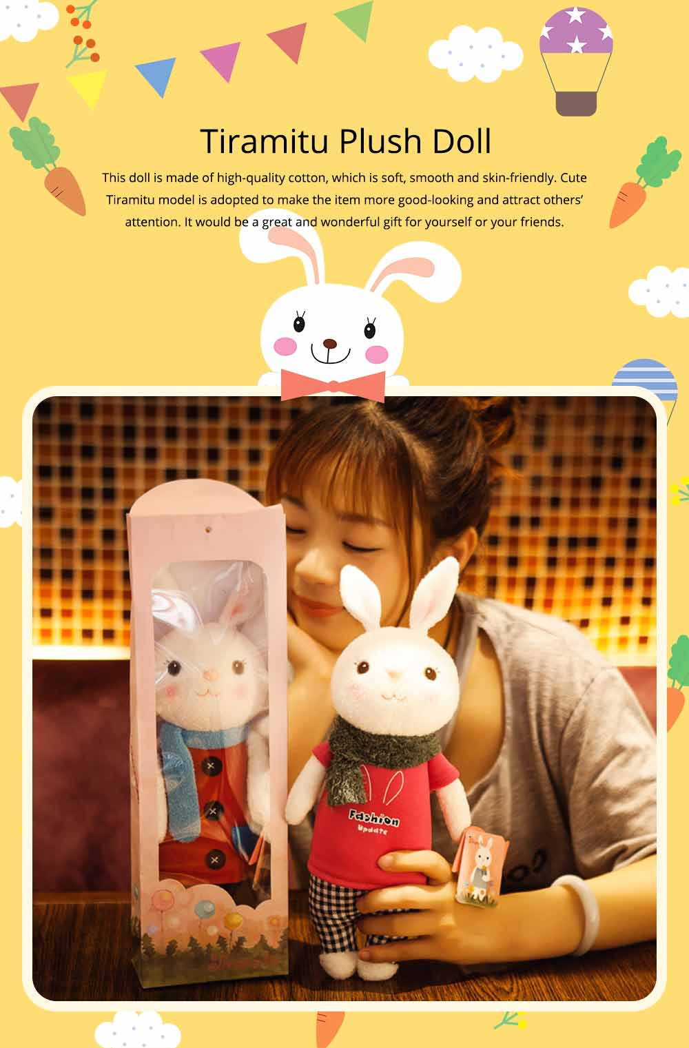 Cute Cartoon Tiramitu Rabbit Plush Stuffed Toy, Ultrasoft Smooth Children's Day Present Doll 0