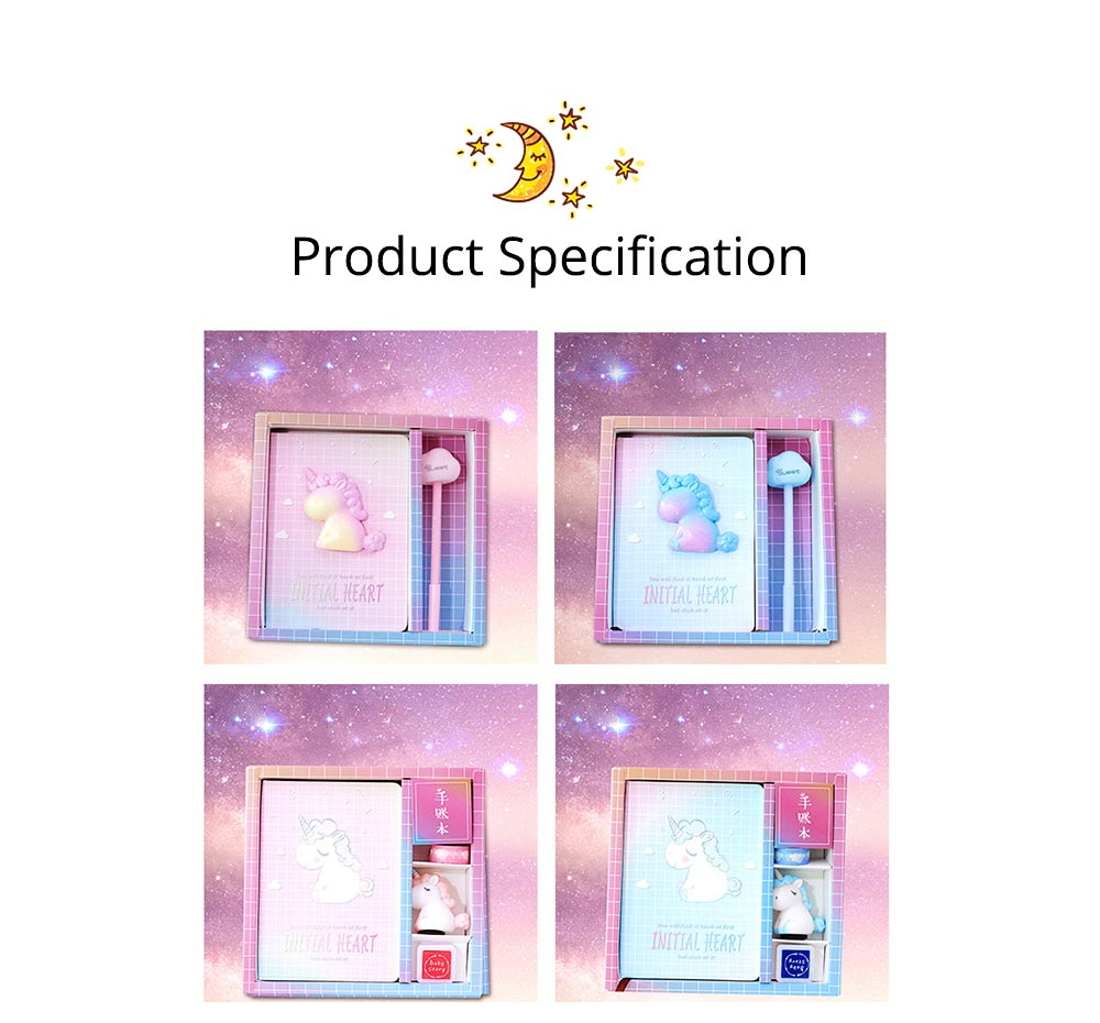 Notebook Pen Sticker Set Birthday Present, Fantasy Starry Sky Unicorn Hand Account Book Suit 8