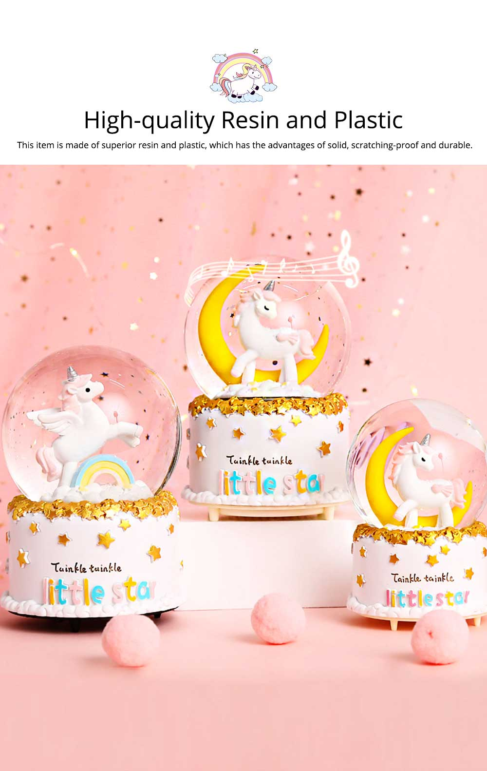 Elegant Snow Globe Ball Music Box With Unicorn Decoration for Children Girls As New Year Birthday Present 1