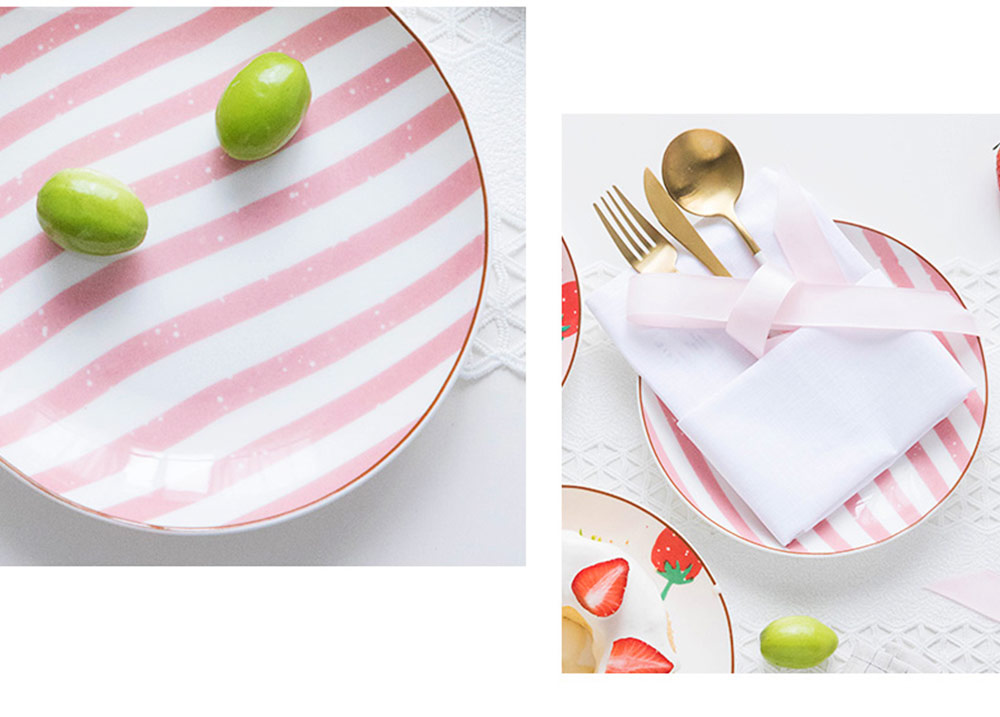 Bone China Dinner Plate Strawberry Pattern, Household Cute Plate Tableware Set 13